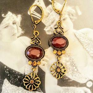 NWOT LIA SOPHIA Gold & Spice Dangle Earrings